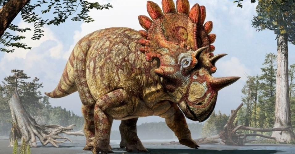 4.jun.2015 - Reconstrução artística do novo dinossauro com chifres descoberto por pesquisadores, Regaliceratops peterhewsi. O crânio quase completo de um animal de 70 milhões de anos foi encontrado por acaso há dez anos, em um rochedo que corre ao longo do rio Oldman de Calgary em Alberta, Canadá
