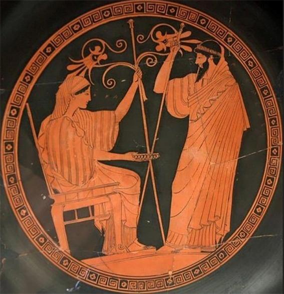 A deusa grega Hera aprisionada num trono mágico forjado por seu filho Hefestos