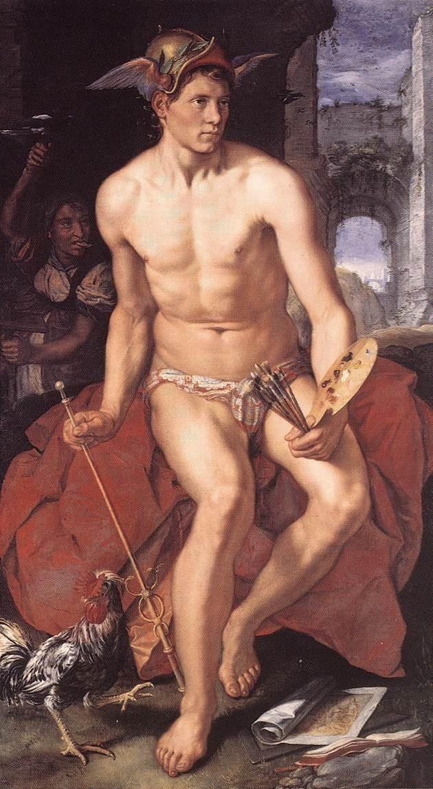 O deus grego Hermes em quadro do pintor holandês Hendrick Goltzius