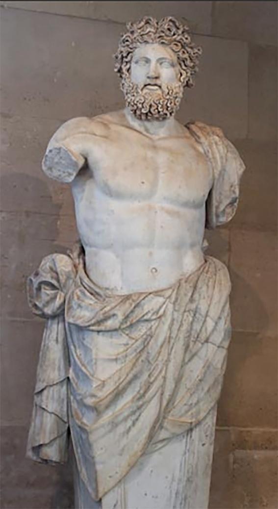 Zeus. Das representações de Zeus, destaca-se esse busto de quase quatro metros de altura, conhecido como Júpiter de Versailles. A obra se encontra atualmente no Museu do Louvre
