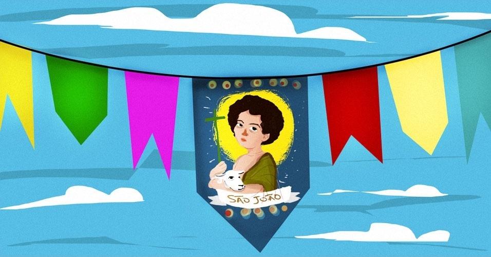 Arte para álbum curiosidades sobre a Festa Junina, bandeirinhas, bandeirolas