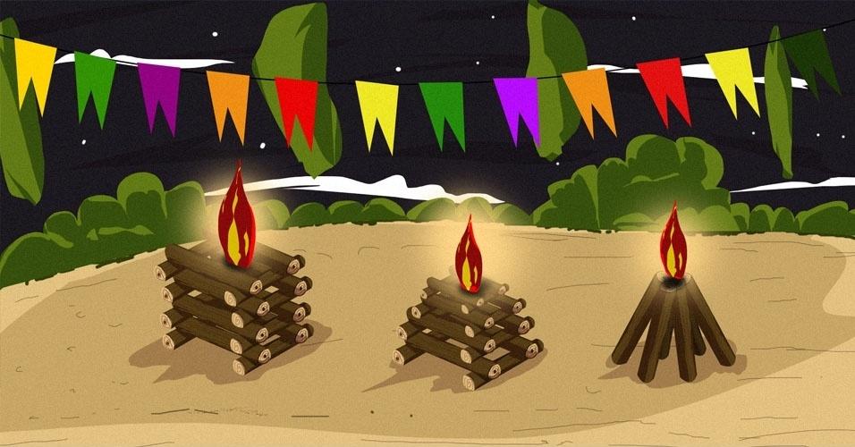 Arte para álbum curiosidades sobre a Festa Junina, fogueira