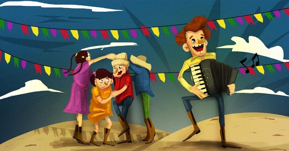 Arte para álbum curiosidades sobre a Festa Junina, quadrilha, música caipira, forró