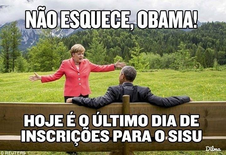 Presidente Dilma Rousseff posta meme em sua conta oficial do Facebook para lembrar o fim das inscrições do Sisu (Sistema de Seleção Unificada)