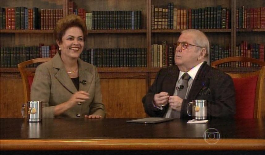 Dilma Rousseff conversa com Jô Soares no