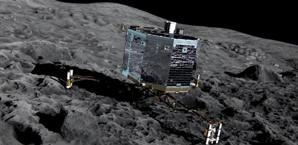 """O robô espacial europeu Philae, estacionado na superfície do cometa """"Chury"""" em junho de 2015"""