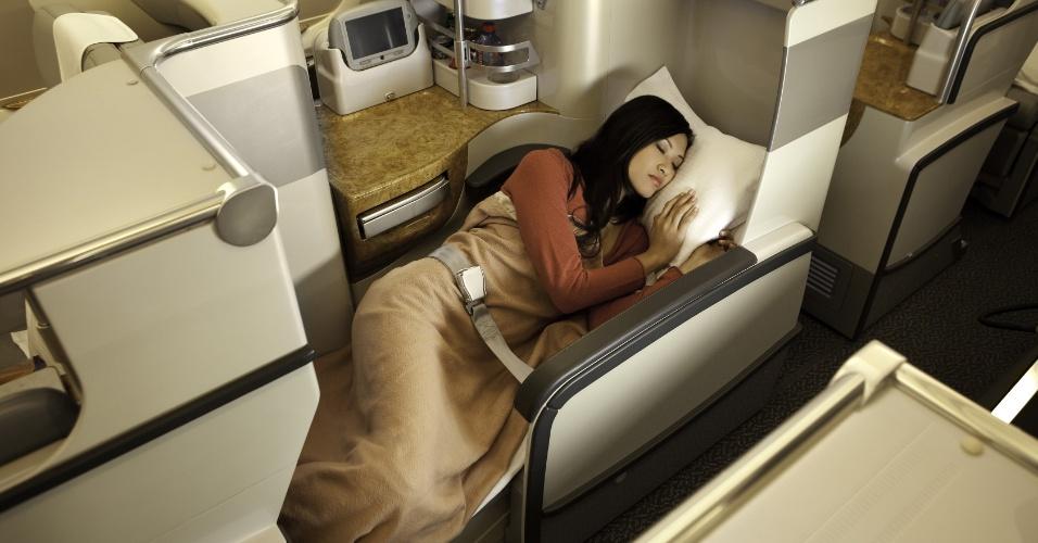 Classe executiva no superavião A380 da Emirates Airlines
