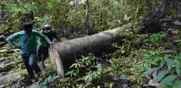Índios kaapor encontram madeira ilegal  - Lunae Parracho/Greenpeace - Lunae Parracho/Greenpeace