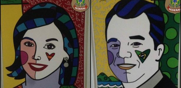 Retratos de Cabral (dir) e sua mulher, Adriana Ancelmo, foram apreendidos pela PF