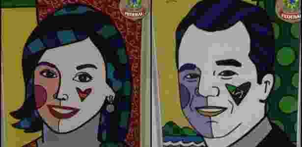 Retratos de Cabral (dir) e sua mulher, Adriana Ancelmo, foram apreendidos pela PF - Divulgação