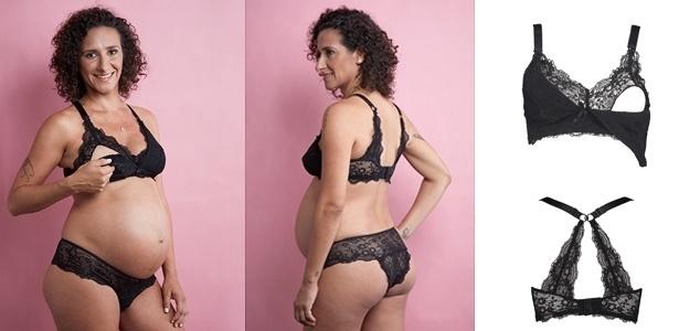 Modelo veste peça da Maya Lingerie Materna, especializada em lingerie para grávidas. A empresa foi criada pela fotógrafa Natália Pereira, em outubro de 2016