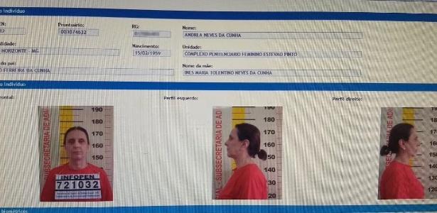 Ficha de Andrea Neves no Complexo Penitenciário Feminino Estevão Pinto, em MG
