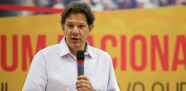 9.mar.2018 - O ex-prefeito de São Paulo Fernando Haddad (PT) participa de fórum organizado pela Fundação Perseu Abramo e pelo PT