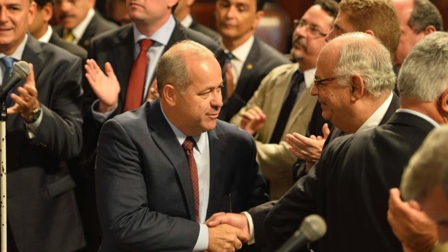 Em 2015, Brazão (esq.) foi eleito conselheiro do TCE-RJ; dois anos depois foi afastado por suspeita de receber propina - Bruno de Lima/Estadão Conteúdo