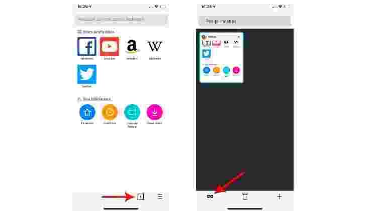 """Para navegar anonimamente no Firefox usando o celular, é preciso clicar no ícone das janelas ativas e na """"máscara"""" à esquerda - Reprodução"""