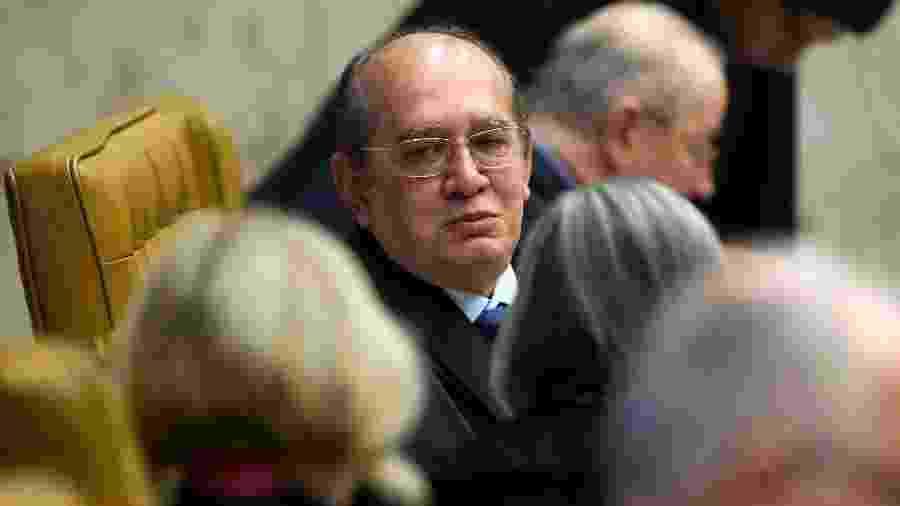 O ministro Gilmar Mendes no julgamento da constitucionalidade da prisão de condenados em segunda instância - Sergio Lima/AFP