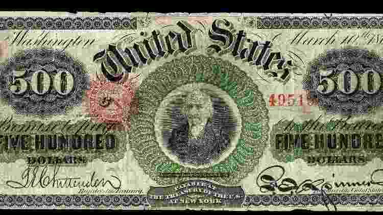 Nota de US$ 500 impressa em 1862 - Reprodução - Reprodução