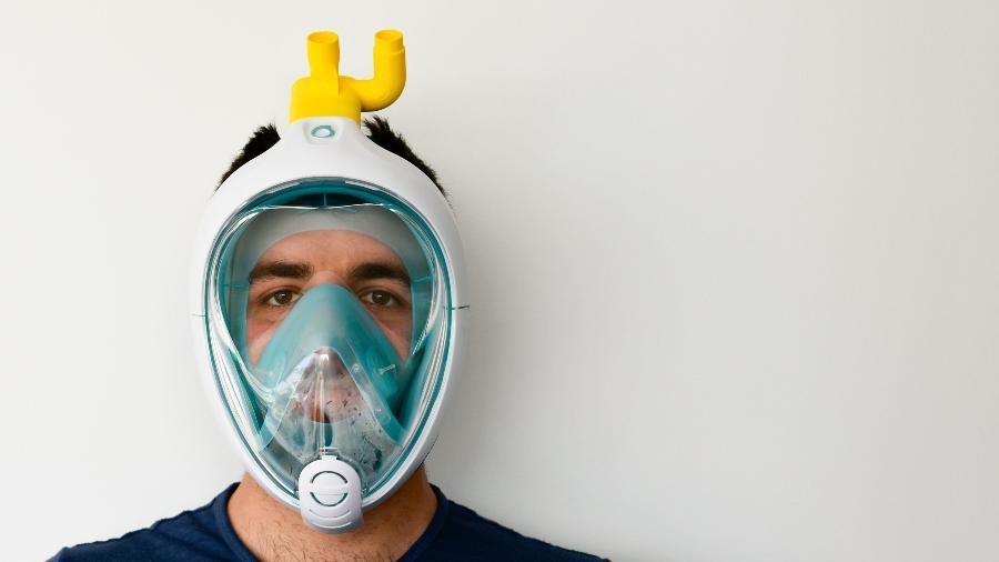 Máscara de snorkel transformada em um respirador - Reprodução/ isinnova.it