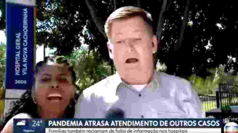 Mulher invade transmissão ao vivo de jornal da Globo - Reprodução