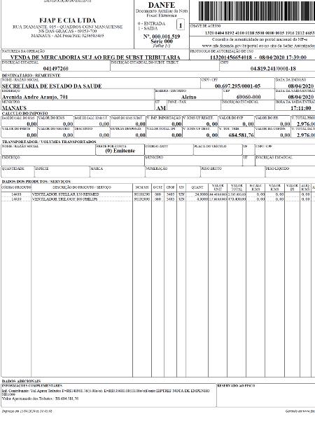 Nota mostra valor de compra de equipamentos adquiridos pelo governo do AM - Reprodução