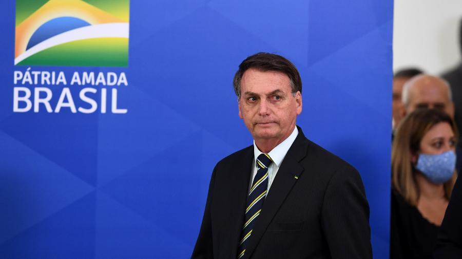 Jair Bolsonaro, antes do pronunciamento após a saída de Sergio Moro - EVARISTO SA / AFP