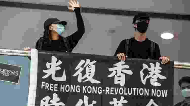 Manifestantes pró-democracia pedem independência para a região - ISAAC LAWRENCE/AFP - ISAAC LAWRENCE/AFP