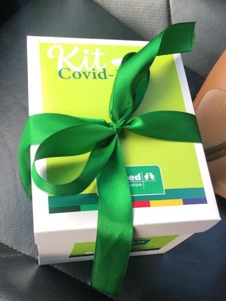 """""""Kit covid"""" distribuído pela Unimed Brusque para médicos e profissionais da linha de frente - Reprodução"""