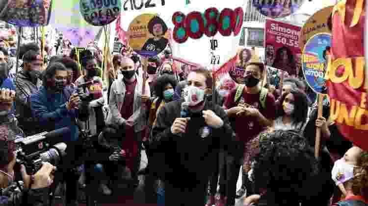 Guilherme Boulos em ato de campanha voltado para a juventude, realizado no último dia 16 de outubro, na praça Roosevelt, no centro de São Paulo, ponto de encontro de jovens de 16 a 24 anos de toda a cidade - Divulgação - Divulgação