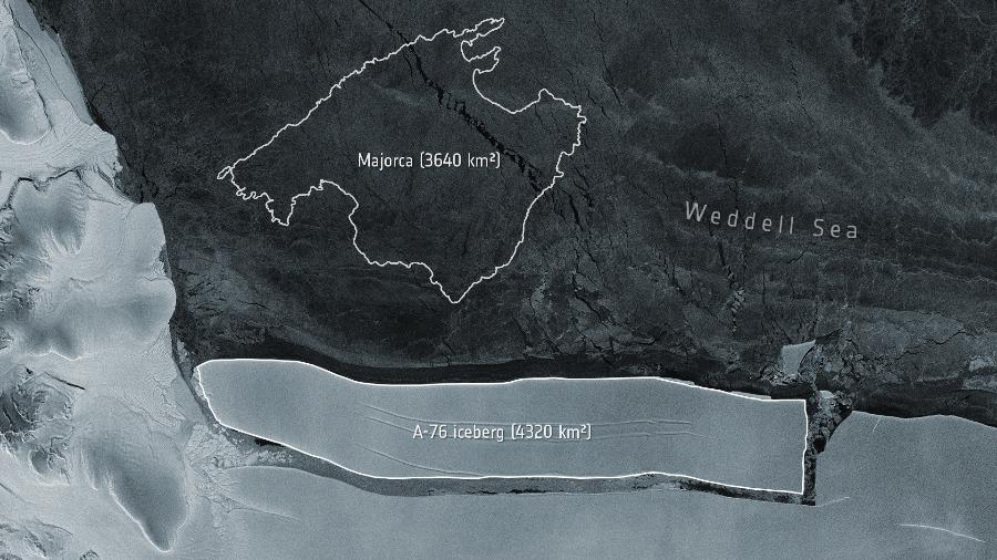 O A-76, maior iceberg do mundo - Divulgação/European Space Agency