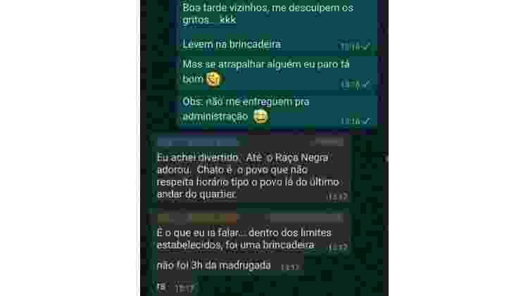 Grupo de WhatsApp dos vizinhos de João Leão - Reprodução - Reprodução