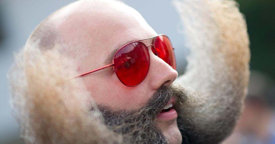 5.out.2015 - Homem com barba exótica participa da edição 2015 do Campeonato Mundial de Barba e Bigode, em Leogang, na Áustria