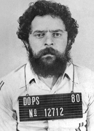 O então líder sindical Luiz Inácio Lula da Silva em foto de seu fichário no Dops, em 1980