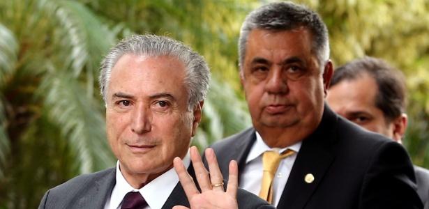 Jorge Picciani, presidente da Alerj, ao lado do presidente interino, Michel Temer