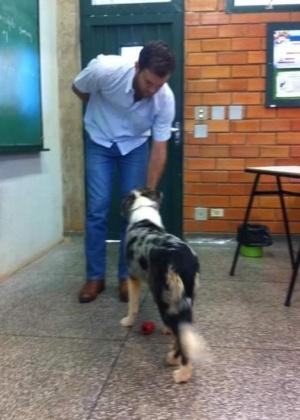Entre um afago e outro, os cães ensinam não só conteúdo, mas desenvolvem também habilidades emocionais na turma - Arquivo Pessoal