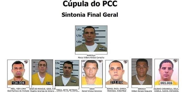 Cúpula do PCC, de acordo em documento do Ministério Público de São Paulo; Roberto Soriano, o Tiriça, aparece na linha de baixo: é o terceiro da esquerda para a direita