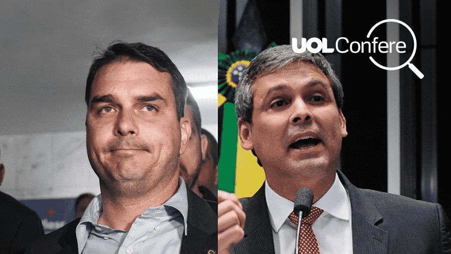 O senador Flávio Bolsonaro (esq.) e o ex-senador Lindberg Farias. - Arte UOL/Fabio Teixiera/AFP/Jonas Pereira/Agência Senado
