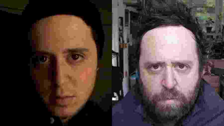 O fotógrafo americano Noah Kalina no início de seu projeto de selfies diárias, em 2000 (à esq), e em foto recente - Reprodução