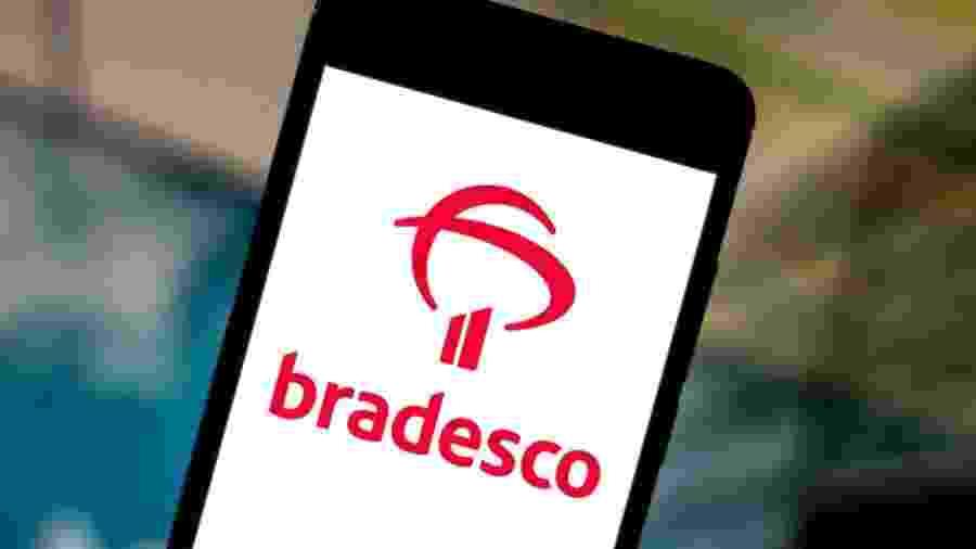 5.jun.2019 - Foto ilustrativa do logo do banco Bradesco na tela de um smartphone - Rafael Henrique/SOPA Images/LightRocket via Getty Images
