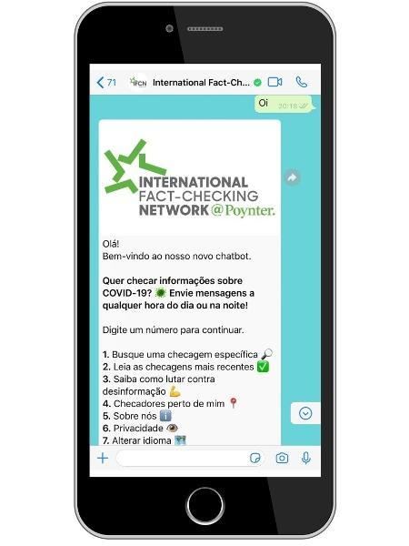 Chatbot da IFCN traz informações sobre boatos relacionados ao novo coronavírus - Divulgação