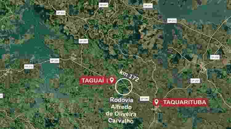 Mapa mostra localização onde ônibus e caminhão bateram, com mais de 40 mortes - Arte/UOL - Arte/UOL