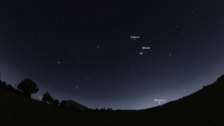 Projeção do app Stellarium mostra conjunção de Júpiter, Saturno e Lua - Reprodução/Stellarium