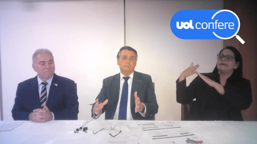2.set.2021 - O presidente Jair Bolsonaro (sem partido) faz sua live semanal ao lado do ministro da Saúde, Marcelo Queiroga - Arte sobre reprodução/YouTube Jair Bolsonaro