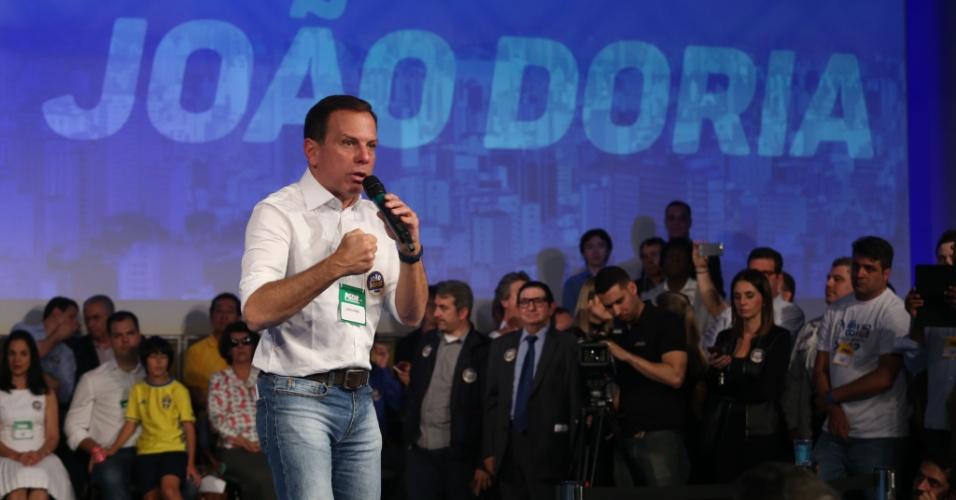 24.jul.2016 -  O empresário João Doria Júnior (PSDB) tem a sua candidatura à Prefeitura de São Paulo lançada durante a convenção do PSDB na Fecomércio, no centro de São Paulo