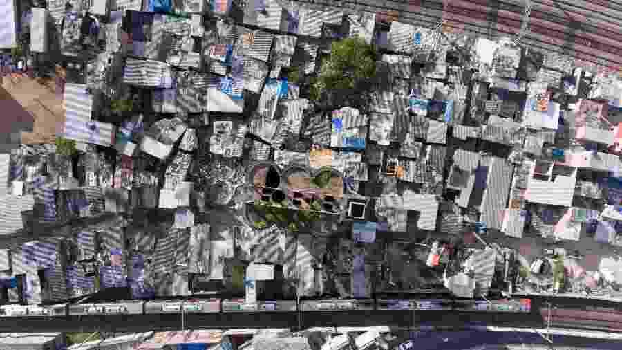 3.jul.2017 - Vista aérea da favela do Moinho, em São Paulo - Joel Silva/Folhapress