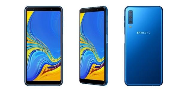 Galaxy A7 (2018) é o primeiro da Samsung a trazer três câmeras traseiras - Divulgação