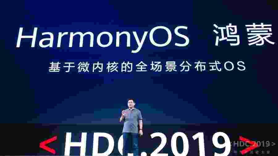 Richard Yu, executivo de aparelhos da Huawei, apresenta HarmonyOS, novo sistema da empresa - Divulgação/Huawei