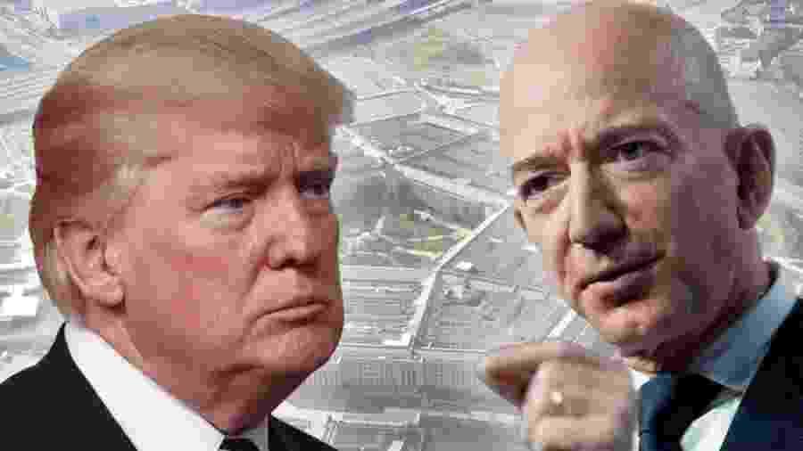 Várias vezes, Trump já deixou evidente sua hostilidade em relação ao dono da Amazon, Jeff Bezos - Getty Images/Reuters