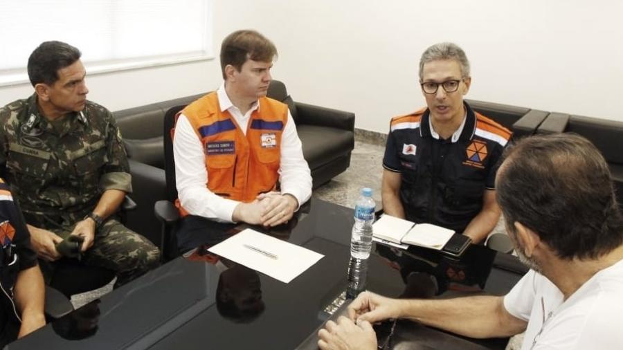 O governador Romeu Zema e o ministro Gustavo Canuto em reunião sobre os danos causados pela chuva em Minas Gerais - Divulgação/ Ministério do Desenvolvimento Regional