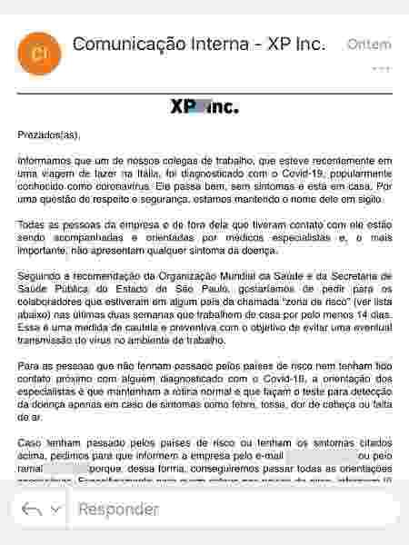 Comunicado XP - Reprodução/WhatsApp - Reprodução/WhatsApp