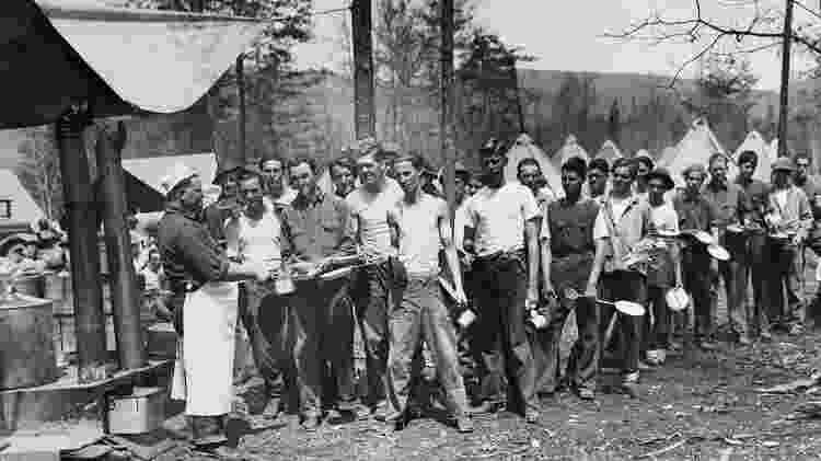 Durante a Grande Depressão da década de 1930, houve desabastecimento de comida - Getty Images - Getty Images